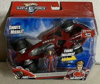 Hot Wheels Battle Force 5 SABER Vehicle w/ Vert Wheeler Driver 2009 Mattel