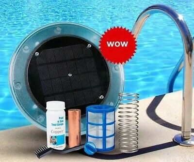 Solar Pool Purifier Ionizer Kill 80%Algae Bacteria Reduce Chemicals Use in Pool
