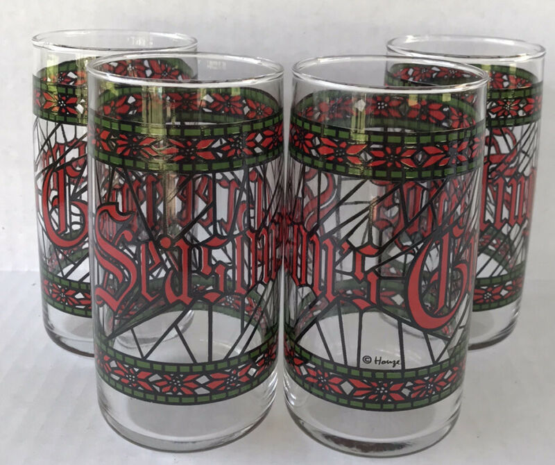 Seasons Greetings Tumblers Stained Glass Look (4) Christmas Holiday Glasses