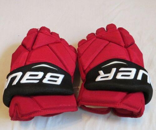 "Used Pavel Zacha Bauer Vapor 1X Pro Stock NJ Devils 14"" Hockey Gloves! MeiGray!"