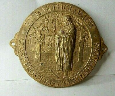 St Bartholomew Small Religious Plaque Stamped brass By Birm Medal Co 6.5cm