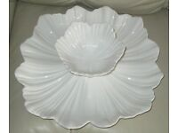 """Pretty white china 'CHIP & DIP' SET, 2 pieces, large fluted plate 13"""" diameter on small feet, bowl"""