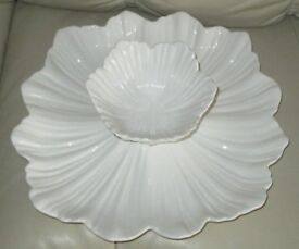 'CHIP AND DIP' 2 piece set. White, China, large decorative place & bowl fits onto plate. see photos
