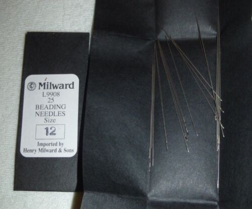 Milward English Beading Needles Size #12 Pack of 25 Bead Stringing Craft L9908