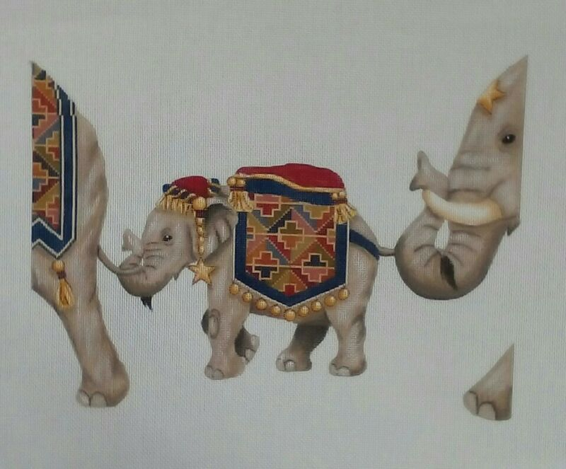 "CANVAS WORKS needlepoint HP handpainted canvas ELEPHANT AP5B 18mesh 12.25""x9.25"""