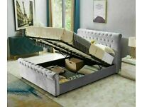 Plush Velvet Astral Sleigh Storage Bed In King Size With Semi Ortho Mattress