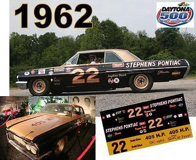 CD_DC-1962 #22 Fireball Roberts 1962 Pontiac NASCAR  1:25 Scale Decals
