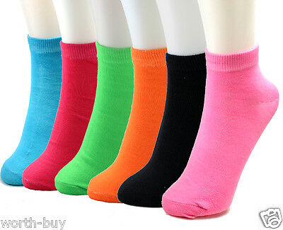 Lot 6-12 Pairs Womens Ankle Quarter Socks Solid Neon Multi Color Fashion Casual Solid Color Ankle Socks