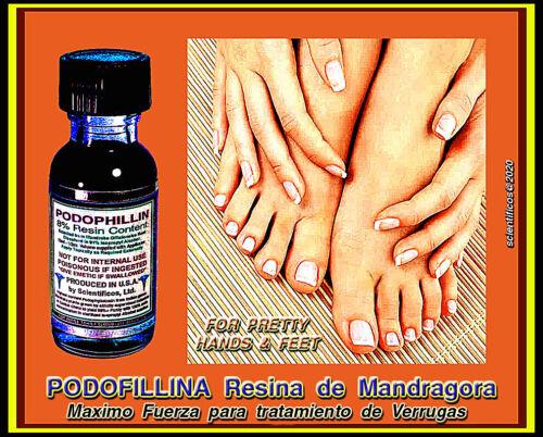 PODOFILINA Resina de Mandragora 15ml 8% Maximo Fuerza Para Tratamiento Verrugas