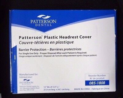 Box250 Patterson Dental Plastic Headrest Cover 11 W X 9 12 L Item 085-1808