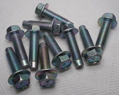 M10 10mm X 1.25 Fine X 30mm Thread Hex Flange Head Bolt Lot Of 10 Bolts