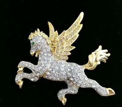 (W) HIGH END Mythical Pegasus Flying Horse Crystal Rhinestone Gold Brooch Pin (Horse Fly Costume)