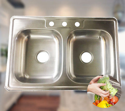 "Stainless Steel Over-Mount Kitchen Sink Double Bowl 50/50 3 Holes 33"" x 22"" x 8"""