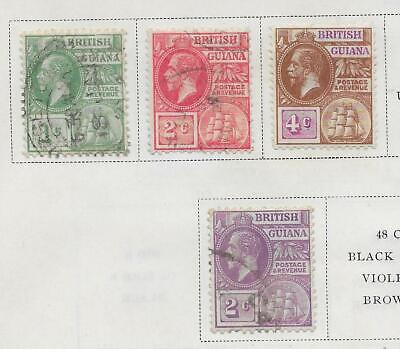 4 British Guiana Stamps from Quality Old Antique Album 1921-1927