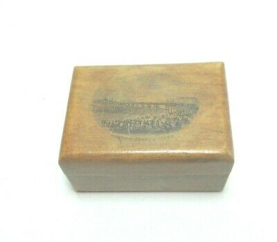 ANTIQUE MAUCHLINE TRANSFER WARE SMALL WOODEN  BOX MARGATE SANDS AND JETTY