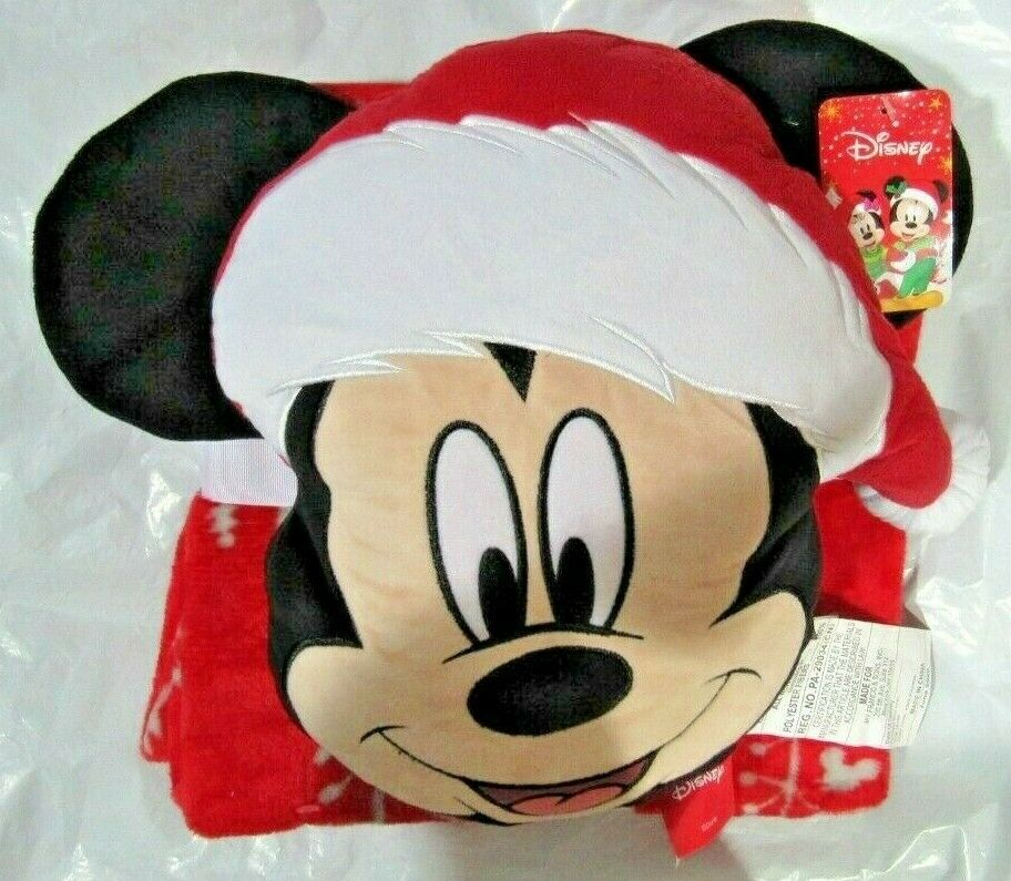 mickey mouse nogginz pillow and travel red