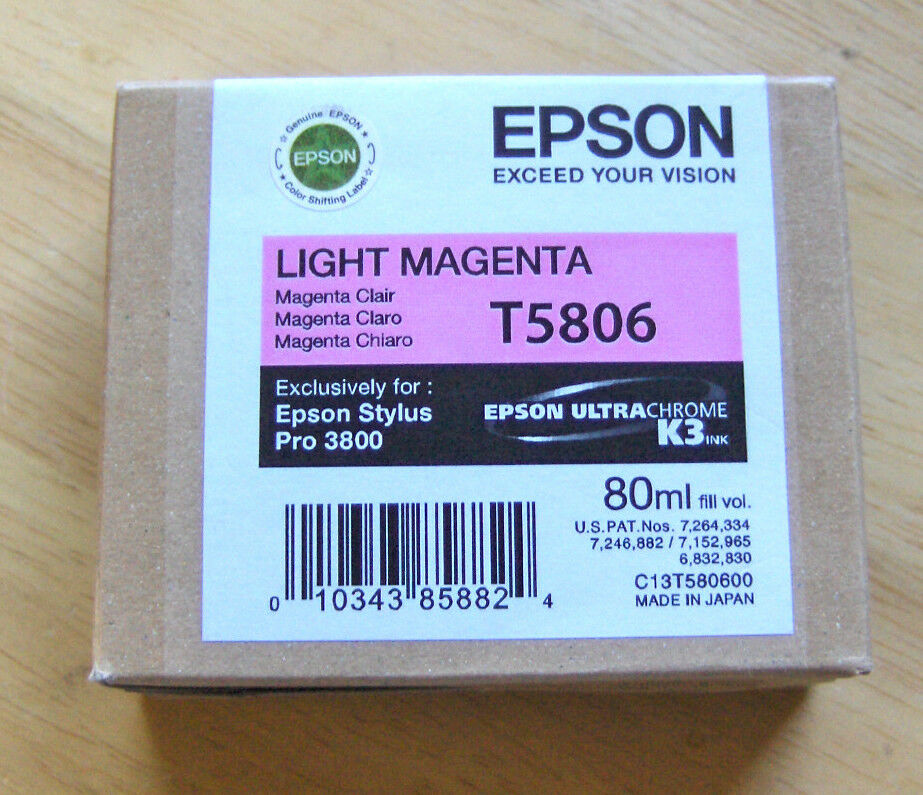 06-2015 Genuine Epson Pro 3800 Only Light Magenta Ink T58...