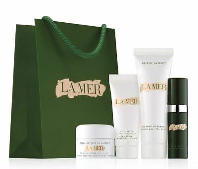 La Mer 5 pc Set Soft Cream, Lifting Contour Serum, Hand Treatment, Mask, Bag