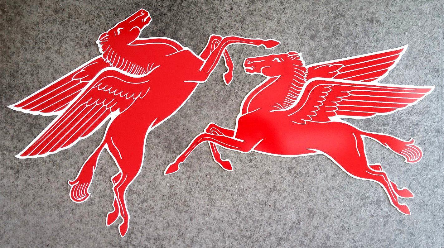 Mobil Pegasus Matching Pair - 2 pieces - Aluminum - Classic Logos - Garage Decor