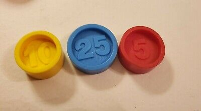 Vintage lot/ 3 1974 Authentic Fisher Price Cash Register Coins 1 of each 25 10 5