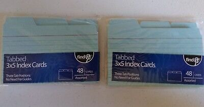 Multicolor Tabbed Index Cards 3 X 5  2 Packs 48 Cards Per Pack
