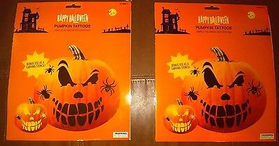 Halloween Pumpkin Angry Face and Tattoo Stickers Decorating Kit Set of 2
