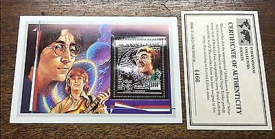 JOHN LENNON / THE BEATLES LIMITED SINGLE LARGE SILVER FOIL STAMP & COA  (E)