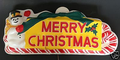 "Vtg Paramount Snowman Blow Mold Vacuum Merry Christmas Light Up Sign 23"" x 9"""