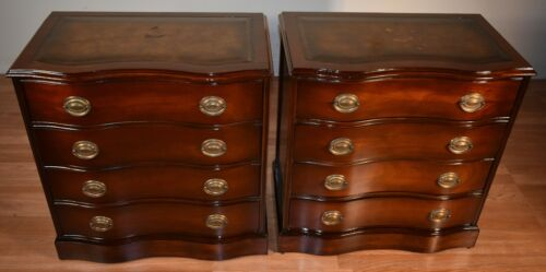 1940s Pair of Regency Style Mahogany Leather top Chest of Drawers