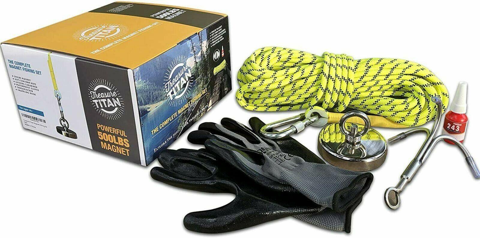 Treasure Titan Complete Magnet Fishing Kit 500LB Pull Force Strong Neodymium - $65.95