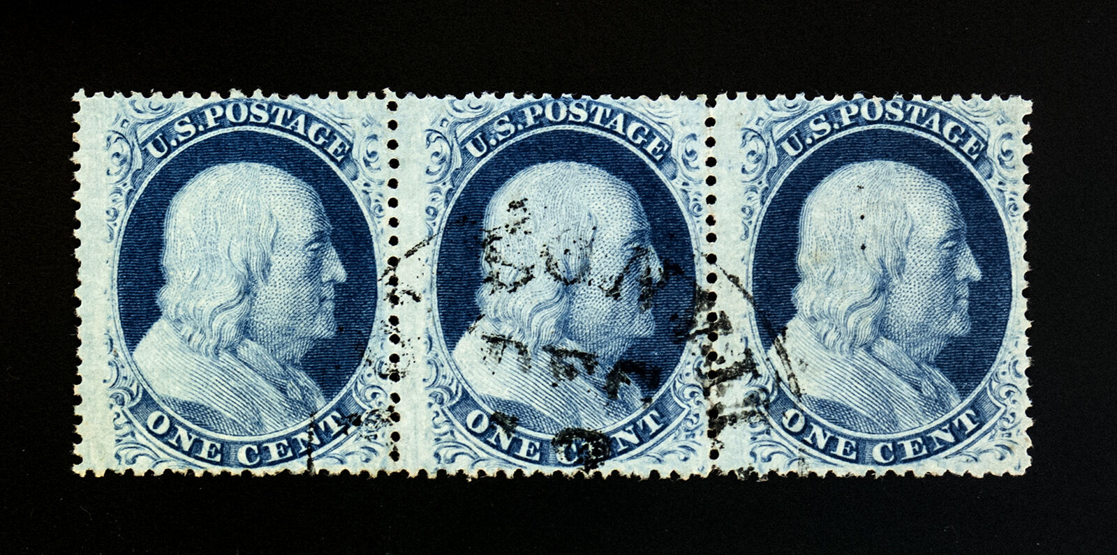 Купить US Scott 24 Strip of 3 Used F-VF Exceptional Condition