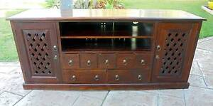 Solid Heavy Wooden 2 Door 7 Drawer TV/Entertainment Unit Mahogany Rothwell Redcliffe Area Preview