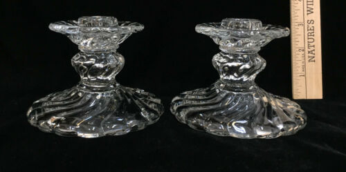Candlestick Holders Fostoria Colony Clear Glass Swirl Wave Pattern Vintage Pair