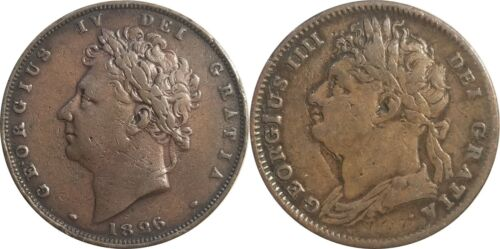 1826 Great Britain Farthings, Lot of 2 Types:  KM# 677 & KM# 697, George IV, VF