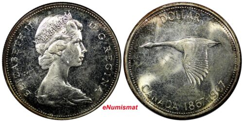 Canada Elizabeth II Silver 1967 $1.00 Dollar NICE TONED Proof Like KM# 70