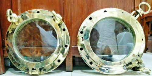 NEW NAUTICAL VINTAGE STYLE  BRASS SHIP  PORTHOLE ROUND WINDOW 2 PCS