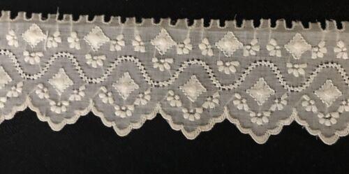 "12"" x 2"" Antique  Vintage Broderie Anglaise Delicate Batiste Lace Trim Edging"