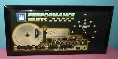 Vintage GM Performance Parts Goodwrench Service Wooden Lacquer Sign Wall Clock