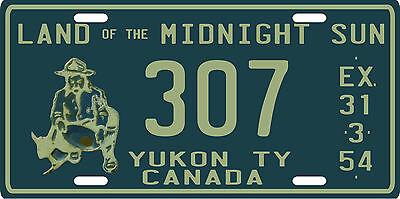 Yukon Territory 1954 replica metal Canadian License Plate