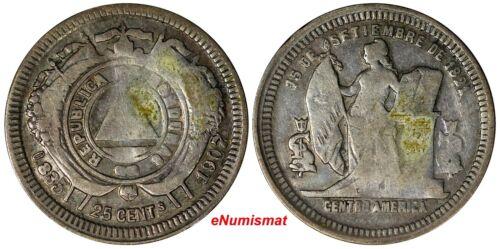 Honduras Silver 1907 25 Centavos Mintage-14,000 KEY DATE KM# 50a