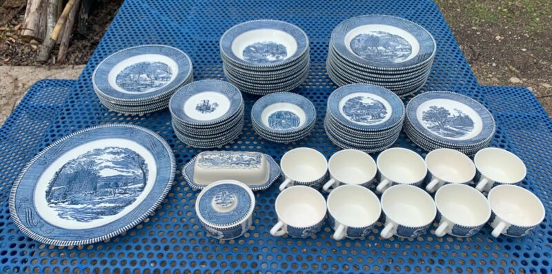 Vintage Currier and Ives Royal China Set, 69pc + 11pc Extra! FREE SHIPPING!