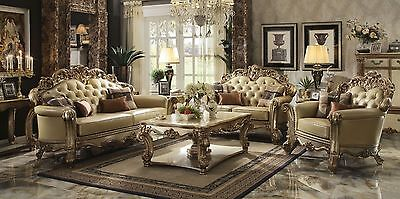 Formal Classic Vendome 3pc Sofa Set Sofa Loveseat Chair Gold Finish Tufted -