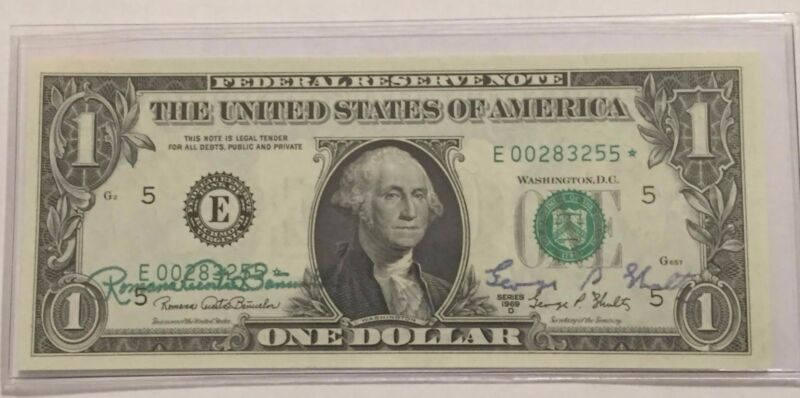 1969 D AUTOGRAPHED $1 FEDERAL RESERVE NOTE BY THE TREASURER & SECRETARY **STAR**