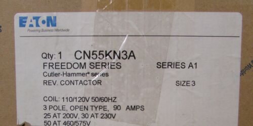 EATON CUTLER HAMMER CN55KN3A Size 3 Reversing Contactor 110/120V Freedom Series