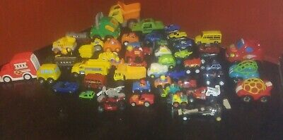 LOT OF 50 FISHER PRICE, LITTLE PEOPLE, VTECH-OTHER TOY CARS, MOSTER TRUCKS, MORE