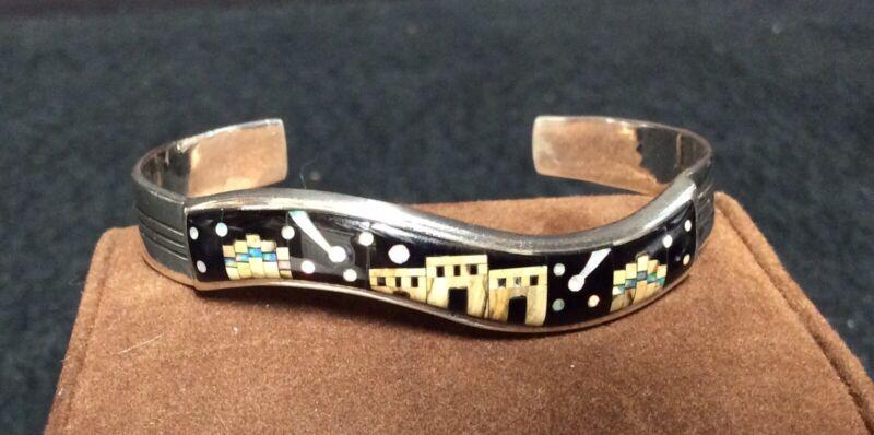Vintage Christin Wolf Zuni Inlaid Sterling Silver Cuff Bracelet