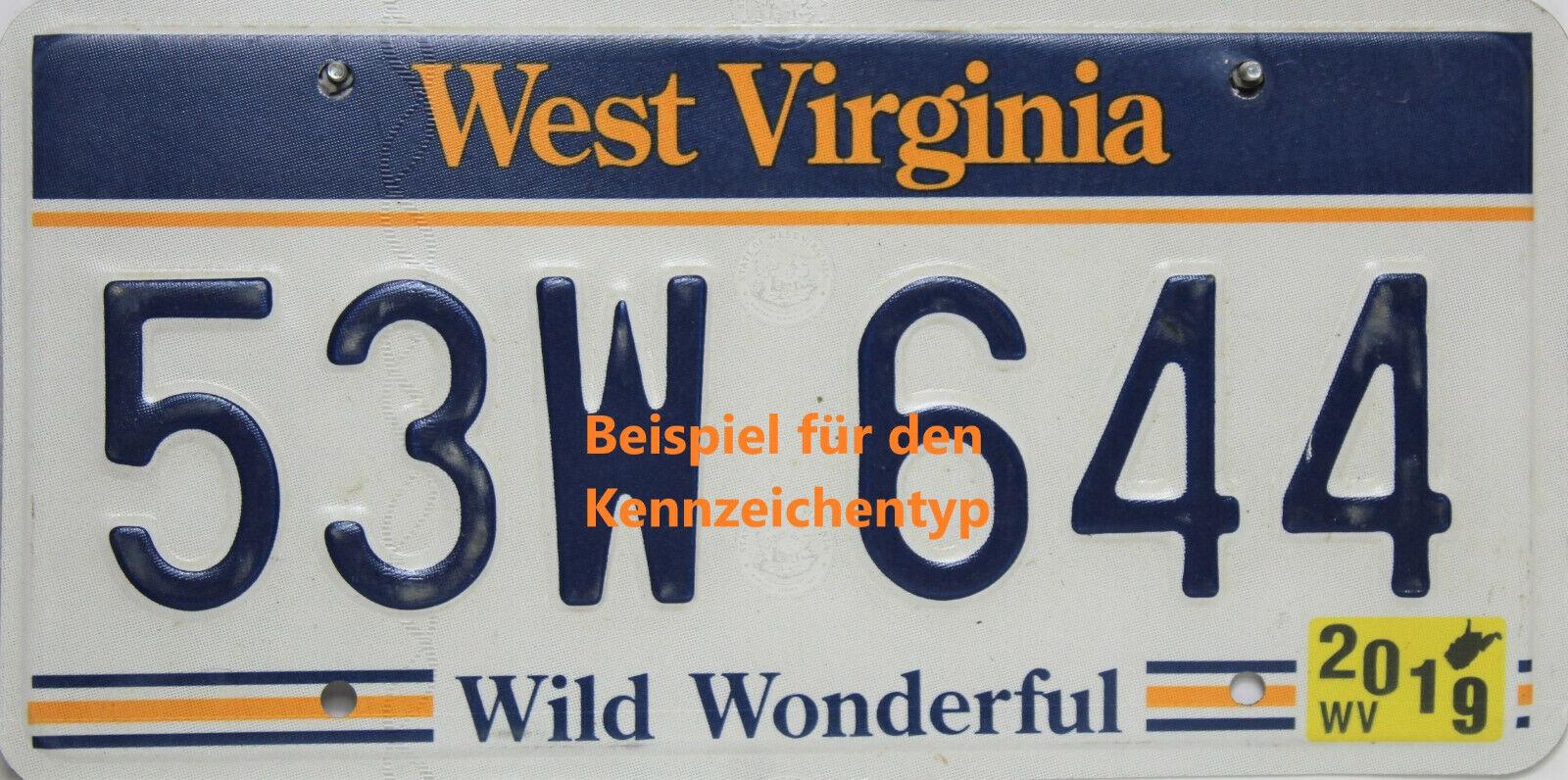 West Virginia  License Plate Embossed original US Nummernschild  Originalbild