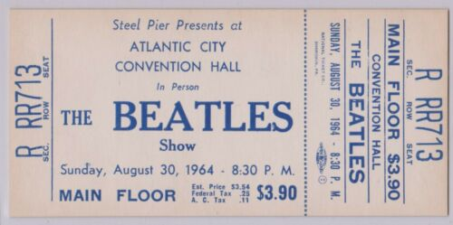RARE BEATLES 1964 UNUSED CONCERT TICKET AUGUST 30, 1964 STEEL PIER ATLANTIC CITY