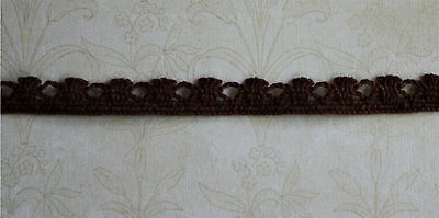"""Heavy 3/8"""" wide  Brown Crocheted Cluny Lace (4 yards) - Shipping discount!"""