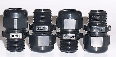 "New Heyco Liquid Tight Cord Grips #3200, 1/2"" NPT, .230"" - .546"", QTY = 4"